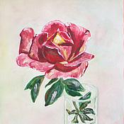Картины и панно ручной работы. Ярмарка Мастеров - ручная работа Роза в стакане акварелью. Handmade.