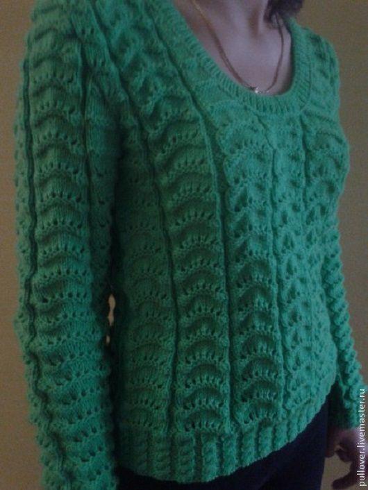 Кофты и свитера ручной работы. Ярмарка Мастеров - ручная работа. Купить Зелёный полувер. Handmade. Зеленый, пуловер вязаный