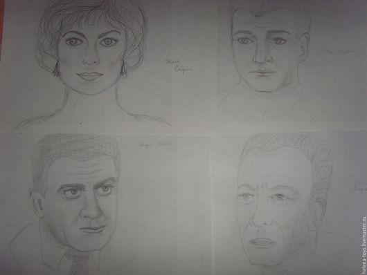 """Люди, ручной работы. Ярмарка Мастеров - ручная работа. Купить набор рисунков карандашом """"Перри Мейсон"""". Handmade. Чёрно-белый"""