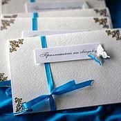 Открытки ручной работы. Ярмарка Мастеров - ручная работа Свадебные приглашения на завязках из лент. Handmade.