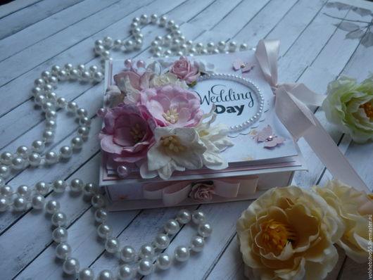 """Конверты для денег ручной работы. Ярмарка Мастеров - ручная работа. Купить Свадебная коробочка для денежного подарка """"Розовая пастила"""". Handmade."""