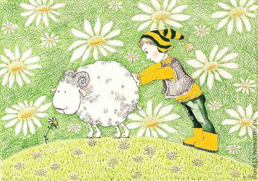 Юмор ручной работы. Ярмарка Мастеров - ручная работа. Купить Картина графика. Овечки. Тяга к прекрасному. Handmade. Картина, овечка