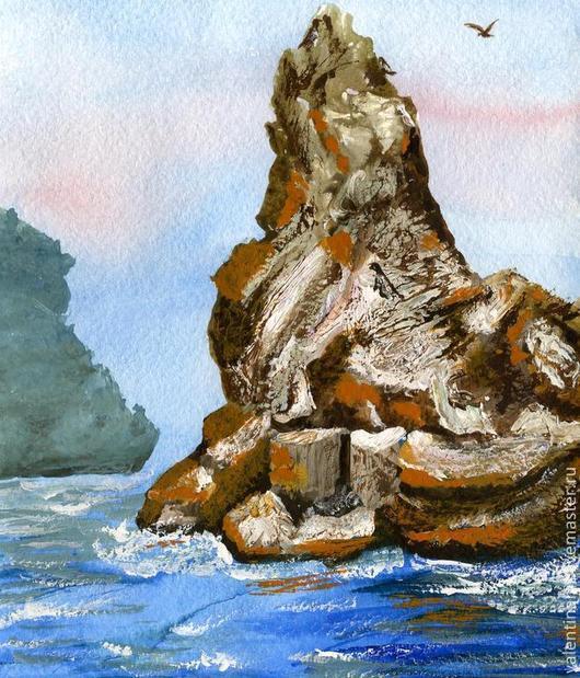 """Пейзаж ручной работы. Ярмарка Мастеров - ручная работа. Купить картина """"Скала небесная"""" (коричневый, голубой). Handmade. Коричневый, скалы"""