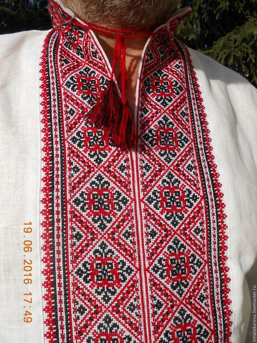 Этническая одежда ручной работы. Ярмарка Мастеров - ручная работа. Купить Вышиванка льняная легкая славянская красно-черная. Handmade.