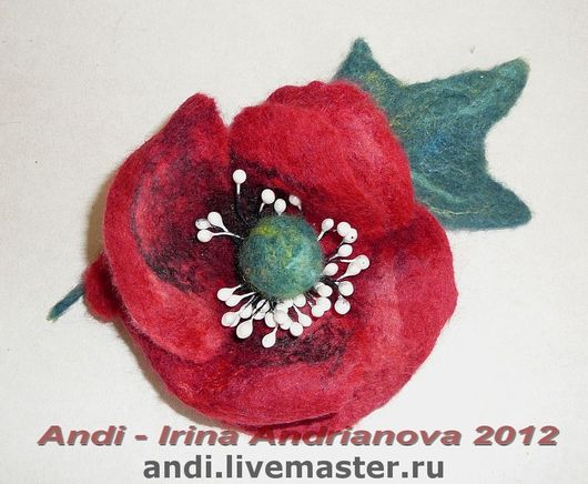 Brooches handmade. Livemaster - handmade. Buy Brooch 'Poppy'.Felted flower, brooch-flower, spacer beads