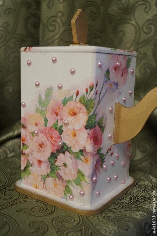 """Шкатулки ручной работы. Ярмарка Мастеров - ручная работа. Купить Чайная шкатулка """" Розовое цветение"""". Handmade. Бледно-розовый"""