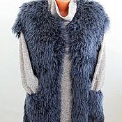 Одежда handmade. Livemaster - original item fur vest knitted women`s slub yarn handmade. Handmade.