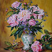 Картины и панно ручной работы. Ярмарка Мастеров - ручная работа Картина маслом. Розовые пионы в китайской вазе. Handmade.