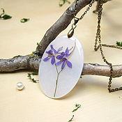 Pendants handmade. Livemaster - original item Transparent Pendant with a Real Purple Purple Flower Fairy No. №2. Handmade.