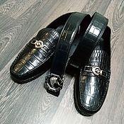 Обувь ручной работы handmade. Livemaster - original item Moccasins and belt, men`s gift set made of crocodile leather!. Handmade.