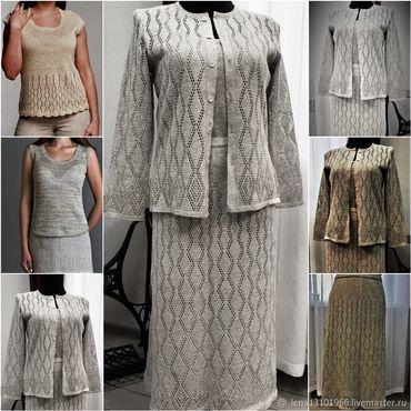 Одежда ручной работы. Ярмарка Мастеров - ручная работа Костюм  из 100% льняной пряжи в разных вариациях. Handmade.