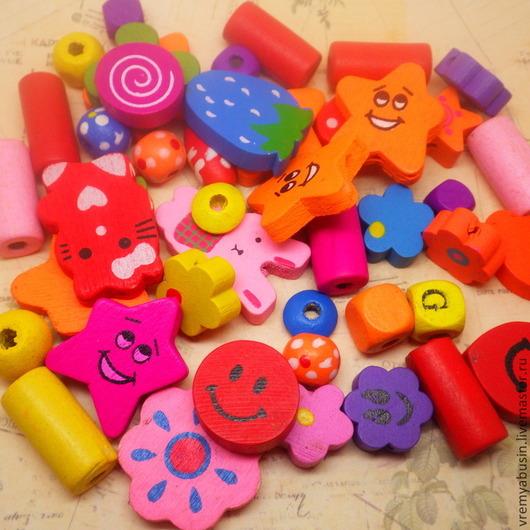 Для украшений ручной работы. Ярмарка Мастеров - ручная работа. Купить Деревянные цветные бусины для детских украшений. Handmade. Бусина