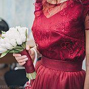 Одежда ручной работы. Ярмарка Мастеров - ручная работа Винный комплект - кружевной топ и юбка пачка в пол. Handmade.