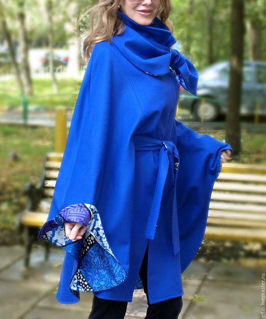Пончо ручной работы. Ярмарка Мастеров - ручная работа. Купить Пальто пончо из шерсти с кашемиром  со съемным воротником. Handmade.