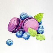 Картины и панно ручной работы. Ярмарка Мастеров - ручная работа Черничный десерт (макаруны и ягоды). Handmade.