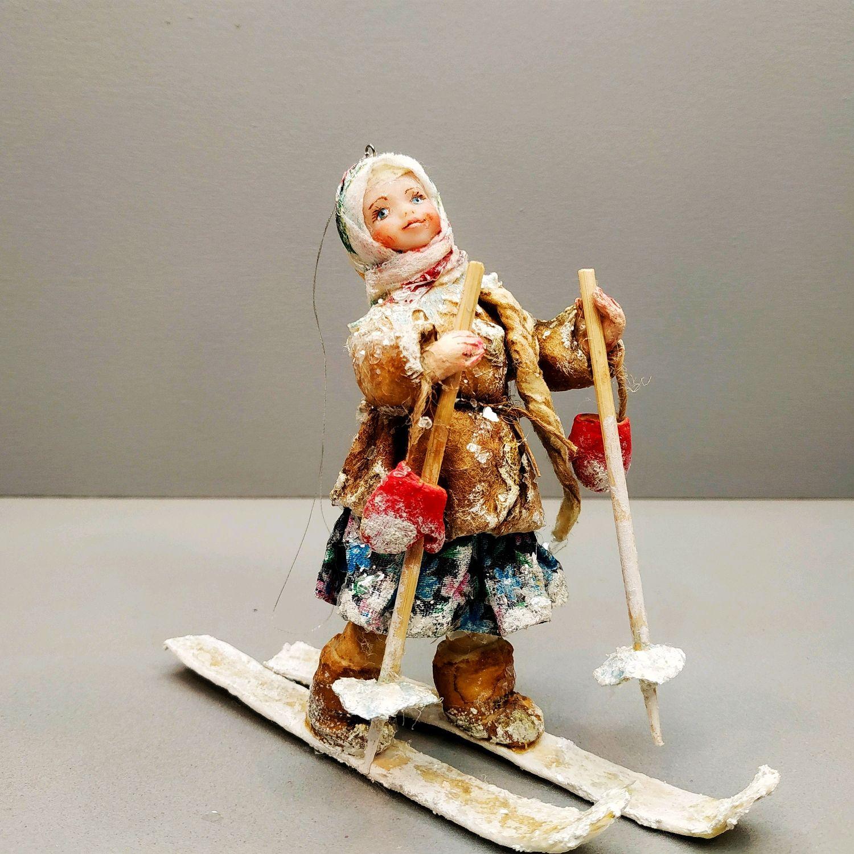 Ватная игрушка на елку.  Катюша на лыжной прогулке. Ватная страна, Елочные игрушки, Владикавказ,  Фото №1