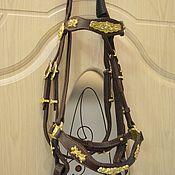 Для домашних животных, ручной работы. Ярмарка Мастеров - ручная работа Уздечка для лошади из коричневой кожи. Handmade.