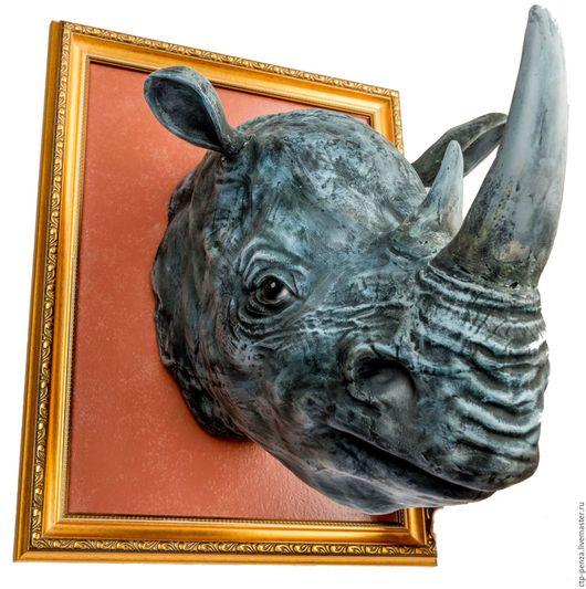 Элементы интерьера ручной работы. Ярмарка Мастеров - ручная работа. Купить Голова носорога. Handmade. Интерьерные головы, скульптуры, серый