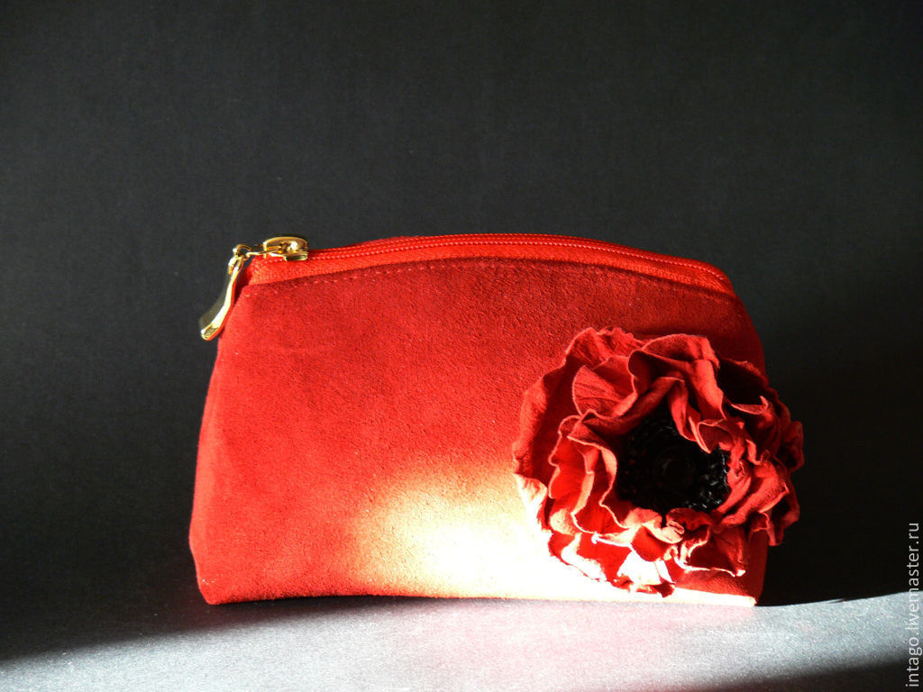 Cosmetic bag 'Red poppy' (red suede), Beauticians, Novosibirsk,  Фото №1