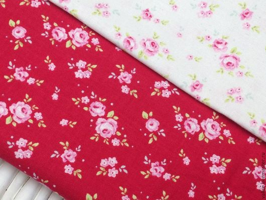 """Шитье ручной работы. Ярмарка Мастеров - ручная работа. Купить Ткань Тильда """"Mini roses"""", red. Handmade. Ярко-красный"""