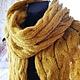 Шарфы и шарфики ручной работы. Ярмарка Мастеров - ручная работа. Купить Шарф Косы, Золотая горчица. Handmade. Оранжевый, большой шарф