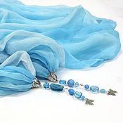 Аксессуары handmade. Livemaster - original item large chiffon stole with pendants