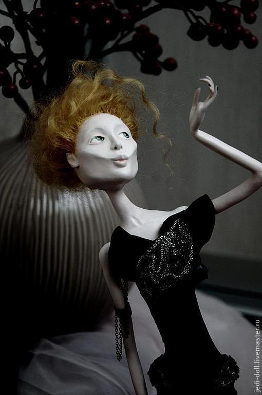 """Коллекционные куклы ручной работы. Ярмарка Мастеров - ручная работа. Купить Авторская кукла """"Дама полусвета"""".. Handmade. Черный, акрил"""