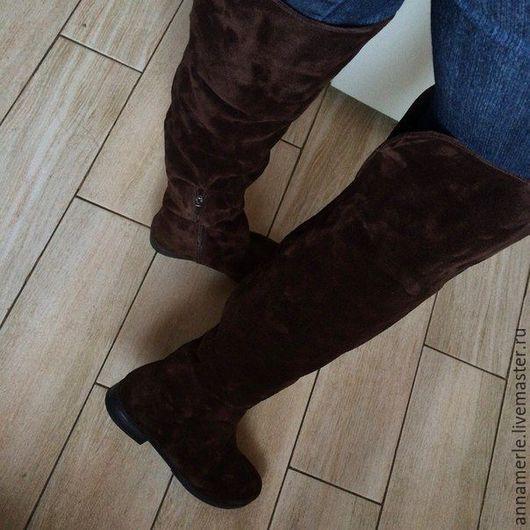 Обувь ручной работы. Ярмарка Мастеров - ручная работа. Купить Ботфорты низкий ход, коричневый замш высокие. Handmade. Коричневый