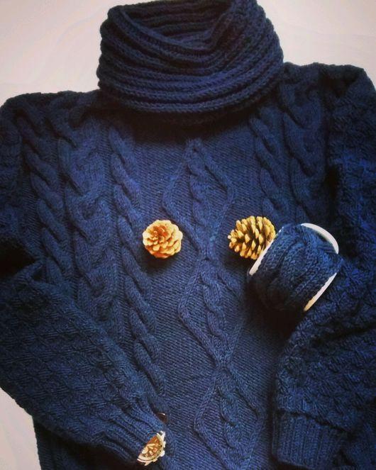"""Для мужчин, ручной работы. Ярмарка Мастеров - ручная работа. Купить Свитер """"Darkblue"""" с объемной горловиной. Handmade. Мужской свитер"""