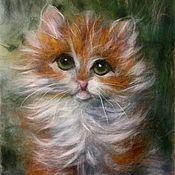 Картины и панно ручной работы. Ярмарка Мастеров - ручная работа Картина из шерсти Рыжий кот. Handmade.