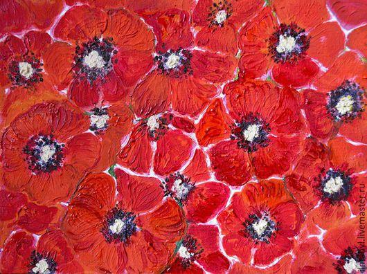 """Картины цветов ручной работы. Ярмарка Мастеров - ручная работа. Купить Картина маслом """"Маки"""". Handmade. Ярко-красный, цветы"""