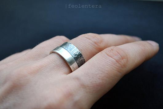 Кольца ручной работы. Ярмарка Мастеров - ручная работа. Купить 60/40 - широкое серебряное кольцо (серебро 925). Handmade. Серебряный