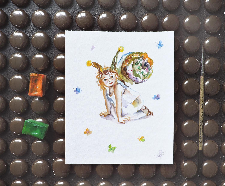 Улиточка - картина акварелью, Картины, Москва, Фото №1