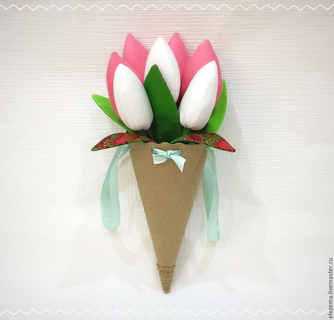 Букет из тюльпанов из ткани своими руками 24