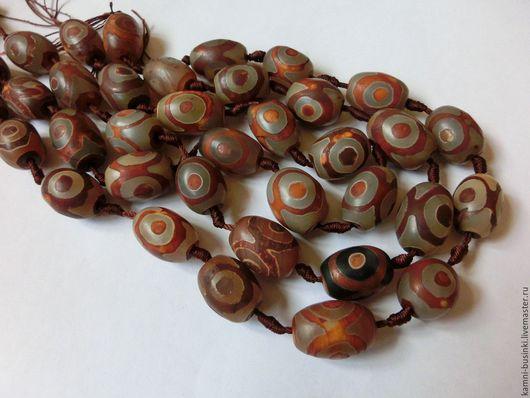 Тибетский Агат Дзи 3 глаза бусина бочонок коричневый. Бусины агата дзи для колье, агат Дзе бусины для браслетов, агат дзи бусина для серег.