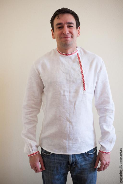 Одежда ручной работы. Ярмарка Мастеров - ручная работа. Купить косоворотка русская рубаха. Handmade. Белый, лён