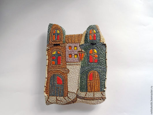 Город ручной работы. Ярмарка Мастеров - ручная работа. Купить Керамическое панно «Город». Handmade. Керамика ручной работы, зеленый