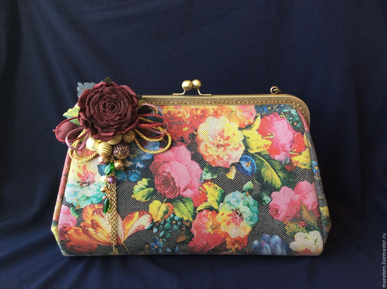 Summer handbag made of leather with a clasp Lady rose, Clasp Bag, Krasnodar,  Фото №1