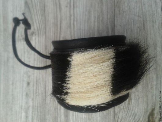 Браслеты ручной работы. Ярмарка Мастеров - ручная работа. Купить Кожаный браслет с мехом. Handmade. Кожаный браслет, кожа