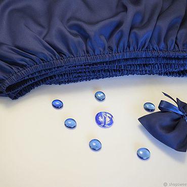 Для дома и интерьера ручной работы. Ярмарка Мастеров - ручная работа Простыня на резинке из тенселя Глубокий синий. Handmade.