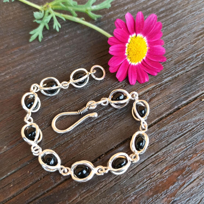 Silver bracelet with black onyx beads 925 sterling Silver, Bead bracelet, Turin,  Фото №1