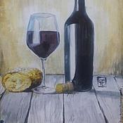 """Картины и панно ручной работы. Ярмарка Мастеров - ручная работа Натюрморт """"Бокал бургундского вина"""" (и французский багет). Handmade."""