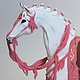 """Статуэтки ручной работы. Ярмарка Мастеров - ручная работа. Купить Фигурка """"Лошадь белая с розовой упряжью"""" (статуэтка белой лошади). Handmade."""