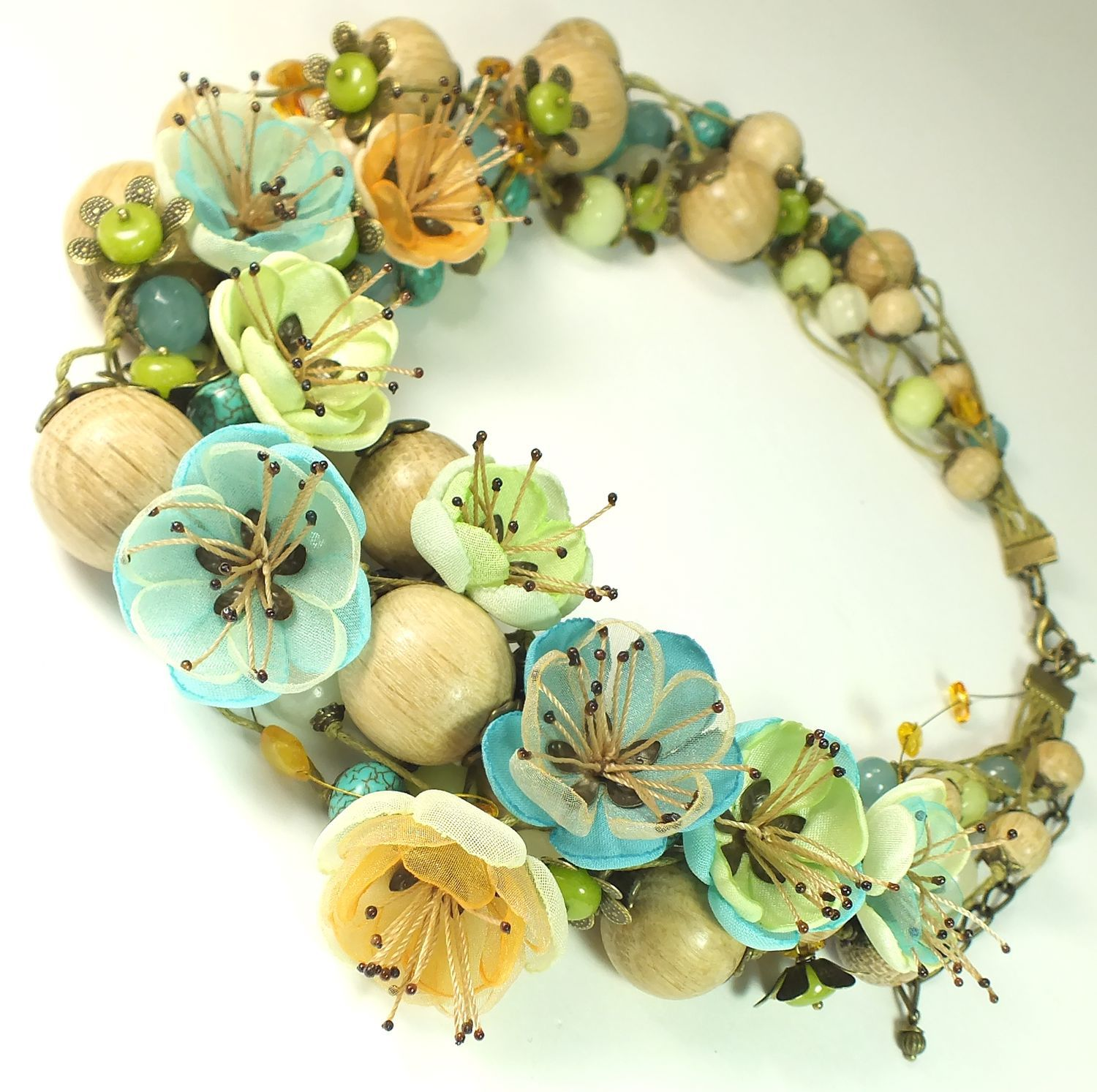 Amber Turquoise Lake. Necklace, flowers, Necklace, St. Petersburg,  Фото №1