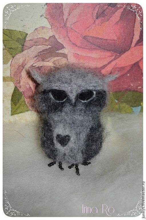 """Броши ручной работы. Ярмарка Мастеров - ручная работа. Купить Брошка """"Сердце совы"""". Handmade. Серый, post rock, безысходность"""