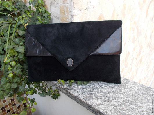 Винтажные сумки и кошельки. Ярмарка Мастеров - ручная работа. Купить Сейчас 30 евро.Черный замшевый клатч  винтаж италия. Handmade.