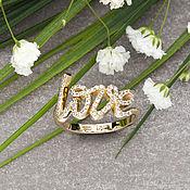 Кольца ручной работы. Ярмарка Мастеров - ручная работа Стильное кольцо в стиле Tiffany Love из желтого золота 585 пробы. Handmade.