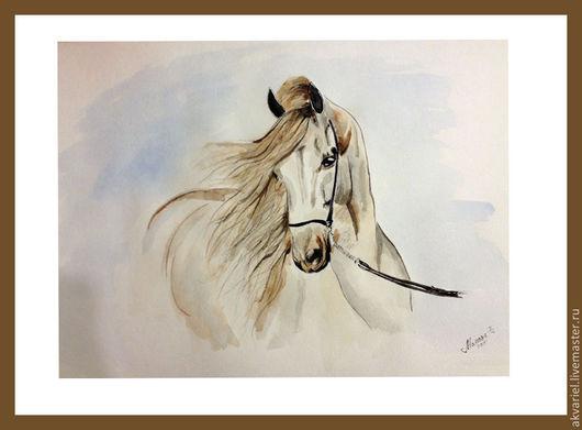 Животные ручной работы. Ярмарка Мастеров - ручная работа. Купить Конь. Handmade. Бежевый, лошадь, картина лошади, картина для интерьера