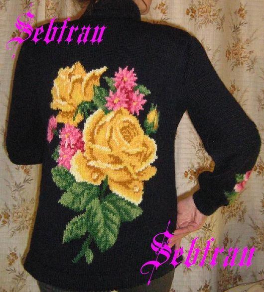 """Кофты и свитера ручной работы. Ярмарка Мастеров - ручная работа. Купить Кардиган связанный на спицах  """"Розы для Королевы"""", авторская. Handmade."""