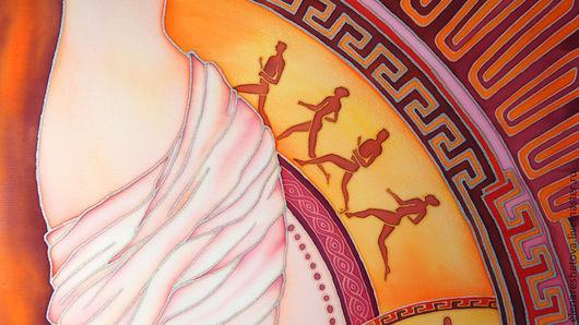 Батик картины для интерьера Ритмы Греции. Панно батик. Коричневый. Розовый. Оранжевый. Фиолетовый. Желтый. Картины для спальни. Картины на стену. Яркие цвета. Чувственность. Оригинальные подарки. Картины Решетовой Елены. Магазин подарков.